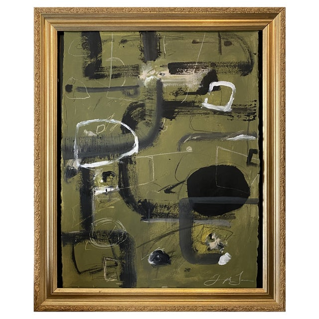 """""""Tennis Court"""" Contemporary Painting by Joe Turner in Antique Frame For Sale"""