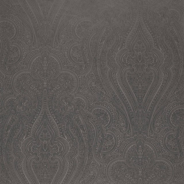 Contemporary Sample - Schumacher Breckenridge Paisley Wallpaper in Charcoal For Sale - Image 3 of 3