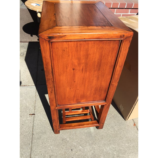 Chinese Elm Wood Cabinet with Shelf For Sale - Image 4 of 6