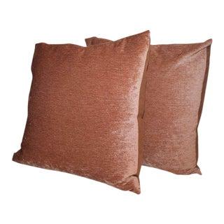 Pair of Peachy Velvet Pillows For Sale