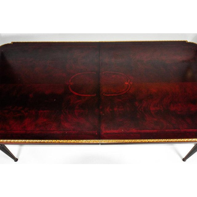 French Vintage Mahogany Dining Table With 24 Karat Gold Leaf Border For Sale - Image 4 of 10