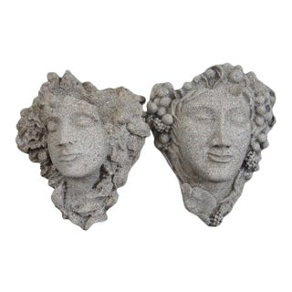 Dionysus Stone Figural Wall Pockets - A Pair For Sale