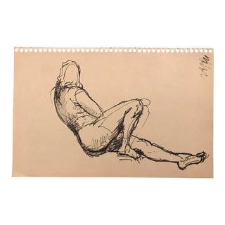 1960s Vintage Reclining Female Figure Drawing For Sale