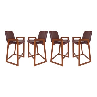 Danish Mid-Century Modern Teak and Burgundy Leather Barstools- Set of 4