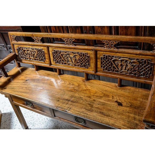 Chinese Elm Wood Bench For Sale - Image 4 of 9