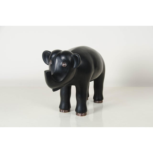 Elephant sculpture Black Lacquer Hand repoussé Copperbase Limited edition Repousse is the traditional art of hand-...