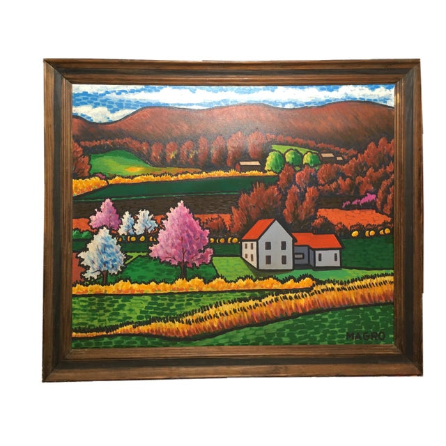 Red Late 20th Century Fall Landscape Oil on Canvas Painting For Sale - Image 8 of 8