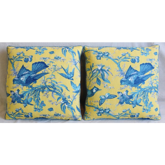 Pair of custom-tailored pillows in unused chinoiserie printed cotton fabric depicting a beautiful and colorful floral...