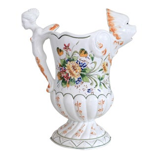 Vintage Italian Hand Painted Water Pitcher For Sale