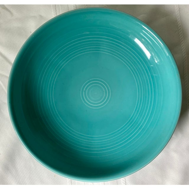 1990s Vintage Fiesta Ware Blue Teal Serving Bowl For Sale In Saint Louis - Image 6 of 7