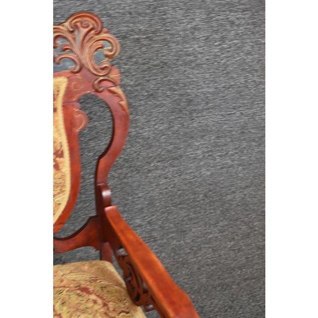 Antique Old World Ornately Carved Shield Back Arm Chair Burgundy Floral Tapestry For Sale - Image 10 of 13