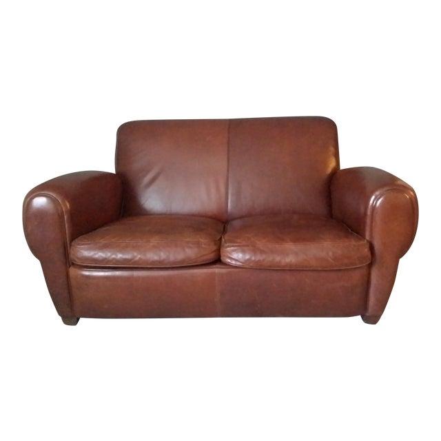 "Restoration Hardware ""Parisian"" Leather Sofa For Sale"