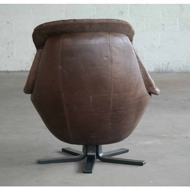 Danish Mid-Century Brown Leather Egg Chair with Ottoman by H. W. Klein For Sale - Image 10 of 13
