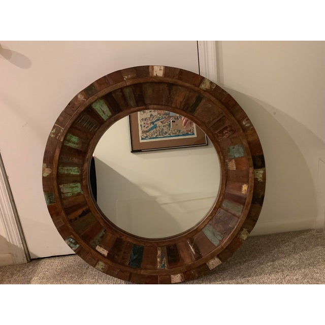 Boho Chic Rustic Reclaimed Wood Round Mirror For Sale - Image 3 of 9