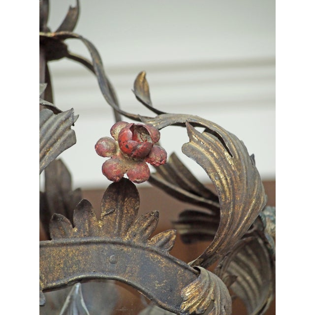 Italian Tole Lantern with Acanthus Leaves and Flowers For Sale - Image 4 of 5