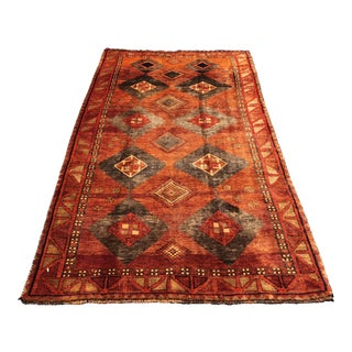 "1950s Hand Weaved Vintage Persian Qashghi Rug - 4'6""x8'8"" For Sale"