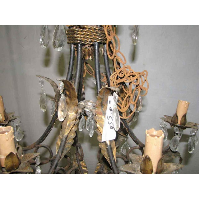 Wrought Iron Brass & Crystal Chandelier For Sale - Image 4 of 8