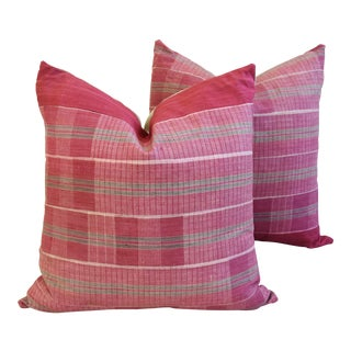 Boho-Chic Mali Woven Tribal Feather/Down Pillows - A Pair