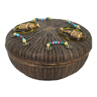Antique Chinese Sewing Basket with Beads For Sale