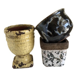 Rustic Eclectic Pottery Vessels, Collection of Three For Sale