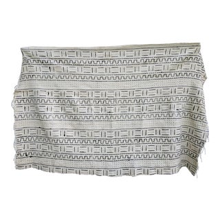 Vintage Black and White African Mudcloth Textile Blanket Throw For Sale