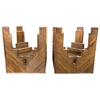 1960s Mid-Century Modern Italian Bamboo Table Bases - a Pair For Sale