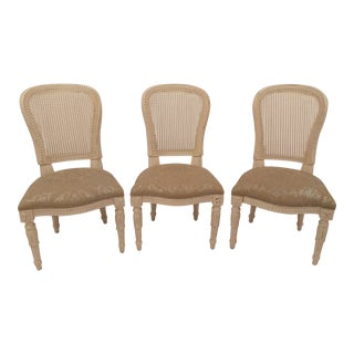 White French Cane Back Chairs - Set of 3