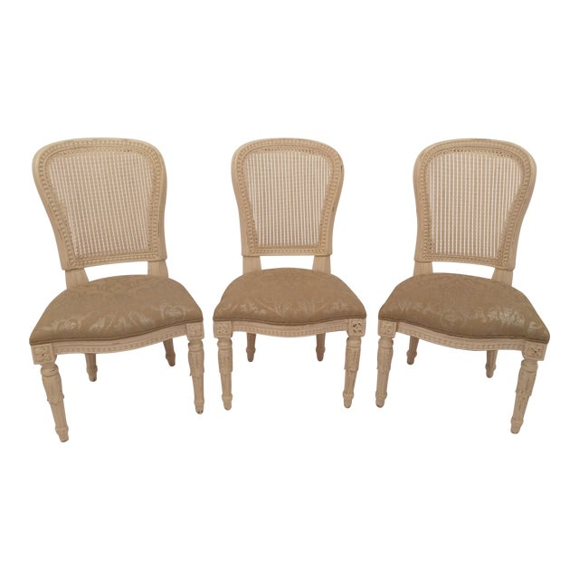 White French Cane Back Chairs - Set of 3 For Sale