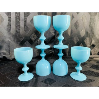 1930s Antique French Blue Opaline Glass Wine Goblets by Portieux Vallerysthal - Set of 6 Preview