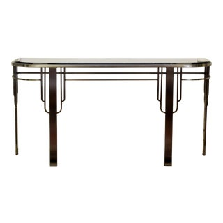 Art Deco Style Brushed Steel Smoked Glass Console Table For Sale