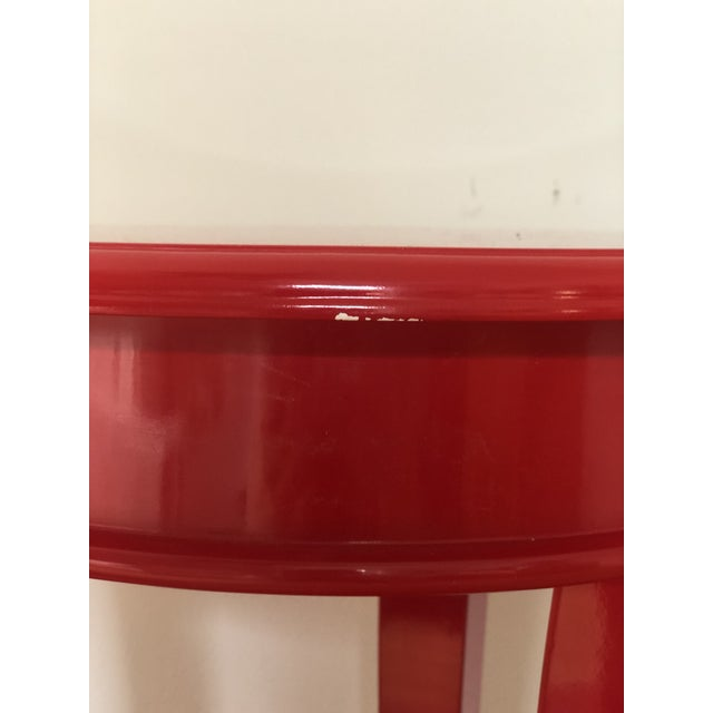 Red Lacquer Round Top End Tables - a Pair For Sale - Image 4 of 5