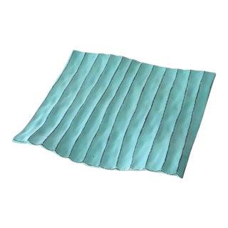 Artisan Blue Flat Art Plate For Sale