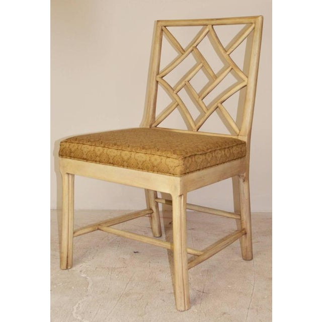 """A good set of six """"cockpen"""" chairs, two armchairs and four side chairs. 1960s version of the Georgian chair with Chinese..."""