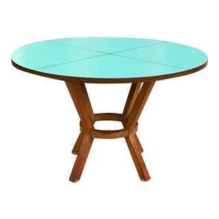 1950s Mid-Century Modern Blue Laminate Table With Aluminum Inlay For Sale