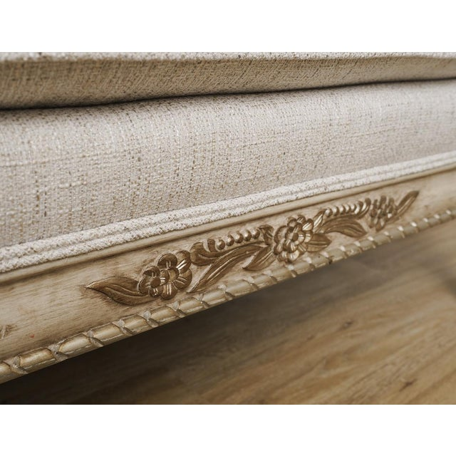 Linen Antique French Provincial Linen Cabriole Sofa With Pillows For Sale - Image 7 of 10