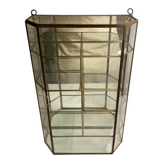 Vintage Mid 20th Century Brass & Glass Tabletop Display Case Vitrine For Sale