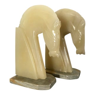 Vintage Alabaster Horse Head Bookends - a Pair For Sale