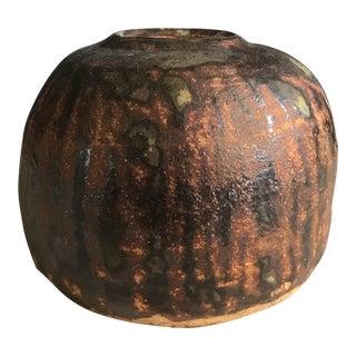 Vintage Brutalist Pottery Vase For Sale
