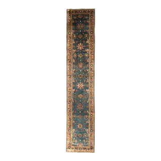 Antique Malayer Runner Beige-Brown and Blue Persian Floral Rug For Sale