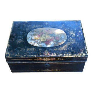 English Metal Box Black With Beautiful Floral Center For Sale