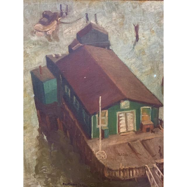 This amazing painting, a WPA era oil on board, has moody and rich color and is in it's original wood frame. Painted in the...