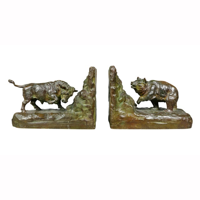 One of a bull and the other a bear. Gorham Foundry mark. These have a gorgeous patina and a retailed by one of the top...