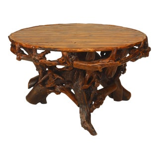 20th C. American Adirondack Style Root Base Dining Table For Sale
