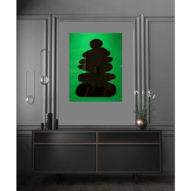 Acrylic Paint Minimalist Glossy Cairn Silhouette on Kelly Green by Stephanie Henderson For Sale - Image 7 of 7