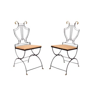 1940s Vintage Samuel Copelon Neoclassical Lyre Back Chairs- A Pair For Sale