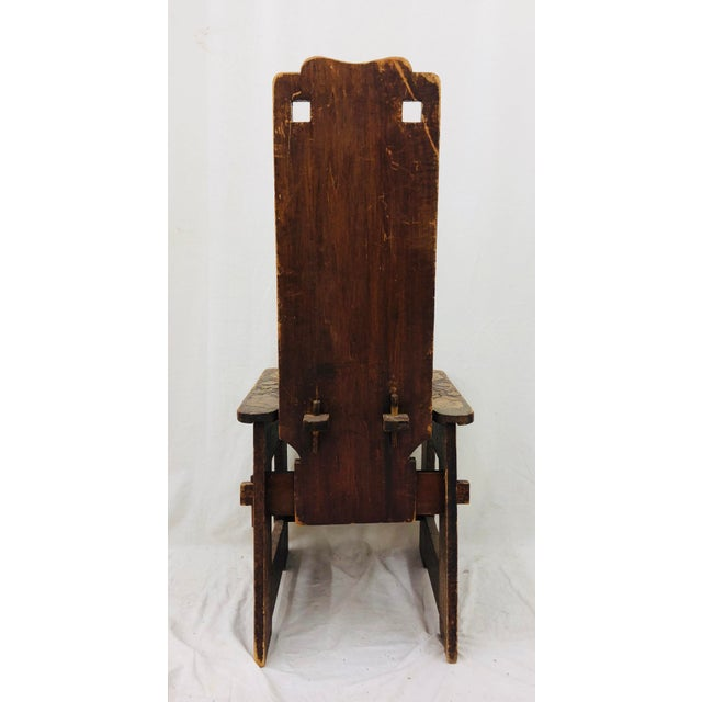 Antique Arts & Crafts Hand Carved Chair For Sale In Raleigh - Image 6 of 9