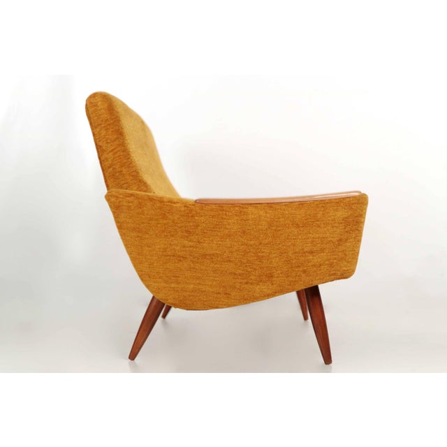 Scandinavian Mid Century Modern Orange Sculpted Walnut Sofa circa 1960s - Image 5 of 11