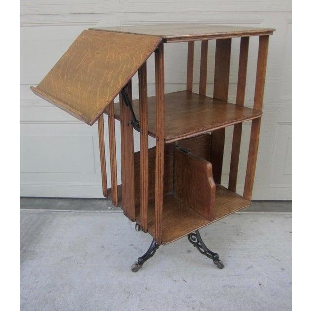 1900s Mid-Century Modern Revolving Swivel Rotating Oak Barrister For Sale - Image 12 of 12