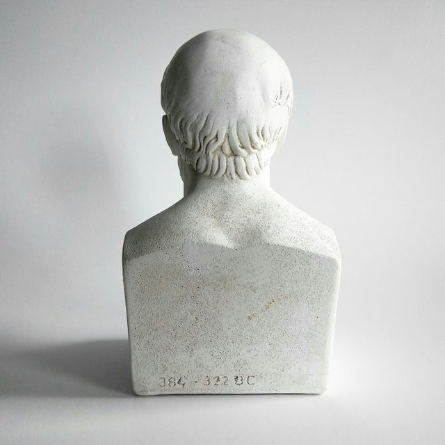 1960s 1960s Vintage Grecian Plaster Statue Aristotle Bust For Sale - Image 5 of 6