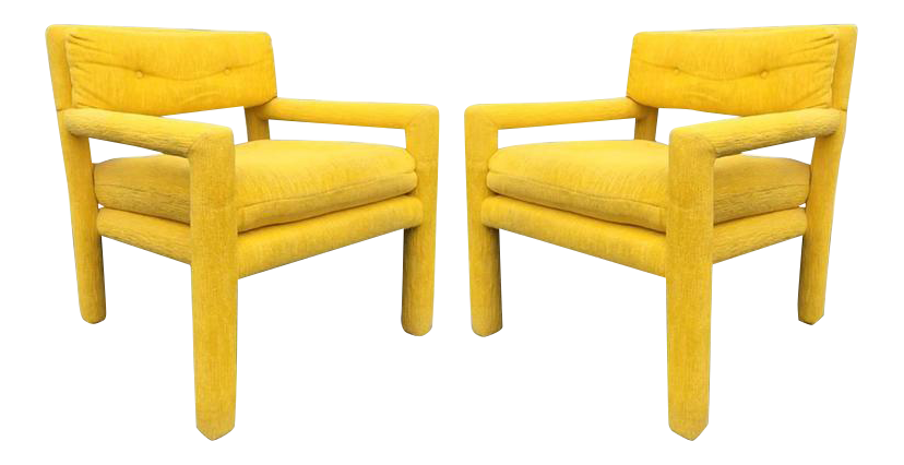 Pair Of Vintage Milo Baughman Style Parsons Chairs For Sale